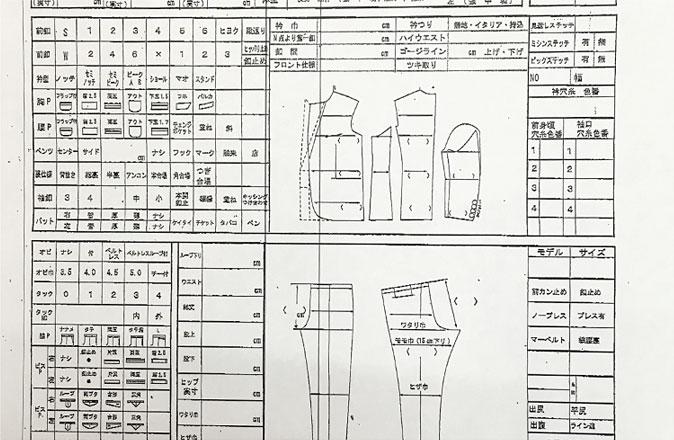 ご注文書と一緒に縫製工場へ出荷します